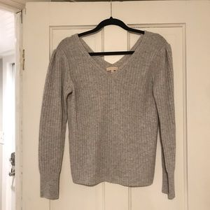 Gray Rebecca Taylor V-Neck Puff Sleeve Sweater